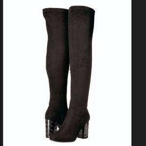 efac044e7 Carlos Santana Shoes | Peep Toe Overknee Boots Black Sz10 | Poshmark